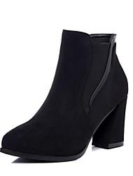 Damer Sko Kunstlæder Vinter Modestøvler Militærstøvler Fluff Foder Støvler Kraftige Hæle Rund Tå Ankelstøvler for Afslappet Sort