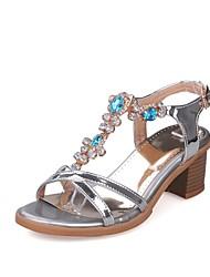 abordables -Femme Chaussures Similicuir Printemps Eté Confort Sandales Talon Bottier Bout ouvert Boucle pour Habillé Or Argent Violet