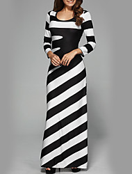 cheap -Women's Holiday Street chic Slim Sheath Dress - Striped High Waist Maxi Black & White