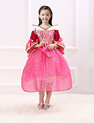 cheap -Princess Fairytale One Piece Dress Party Costume Kid Christmas Birthday Masquerade Festival / Holiday Halloween Costumes Red Solid Color