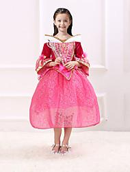 abordables -Princesse Conte de Fée Aurora Robes Costume de Soirée Enfant Noël Anniversaire Mascarade Fête / Célébration Déguisement d'Halloween Rouge