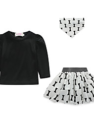 cheap -Girls' Clothing Set, Polyester Spring Long Sleeves Active Black