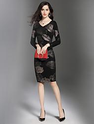 Недорогие -Для женщин На выход Винтаж На каждый день А-силуэт Платье С принтом,V-образный вырез Средней длины Длинные рукава Полиэстер Осень Со