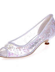 cheap -Women's Shoes Paillette Spring Summer Basic Pump Wedding Shoes Kitten Heel Peep Toe for Wedding Party & Evening White Red Pink Light Blue
