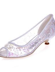preiswerte -Damen Schuhe Paillette Frühling Sommer Pumps Hochzeit Schuhe Kitten Heel-Absatz Peep Toe für Hochzeit Party & Festivität Weiß Rot Rosa