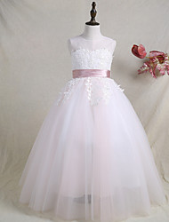 cheap -A-Line Floor Length Flower Girl Dress - Satin Tulle Sleeveless Jewel Neck with Laces Belt Color Block by LAN TING BRIDE®