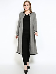 cheap -Women's Vintage Plus Size Trench Coat - Color Block, Patchwork