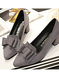 cheap -Women's Shoes Suede Spring Fall Comfort Heels Low Heel Pointed Toe for Casual Blue Gray Black