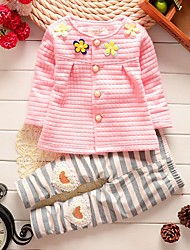 cheap -Girls' Daily Going out Cartoon Clothing Set, Cotton All Seasons Long Sleeves Cute Casual Active White Blushing Pink Yellow
