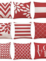 cheap -9 pcs Linen Pillow Cover, Striped Geometric Art Deco