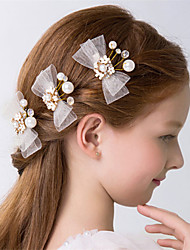 cheap -Crystal Imitation Pearl Flowers Hair Clip Hair Claws with Bowknot Scattered Bead Floral Motif Style 3 Wedding Party / Evening Headpiece
