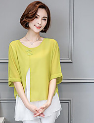 cheap -Women's Work Chinoiserie Batwing Sleeve Linen Blouse - Color Block