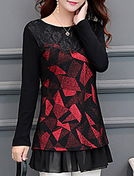 cheap -Women's Vintage Polyester T-shirt - Geometric, Lace