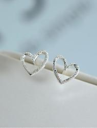abordables -Femme Adorable Cœur Argent 2pcs Boucles d'oreille goujon - Mode / Doux Argent Des boucles d'oreilles Pour Mariage / Soirée
