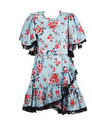 Feminino Bainha Vestido,Para Noite Vintage Estampado Decote Redondo Altura dos Joelhos Manga Curta Poliéster Outono Cintura Alta
