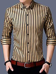 Недорогие -Для мужчин На выход Все сезоны Рубашка Рубашечный воротник,На каждый день Шинуазери (китайский стиль) Полоски Длинные рукава,Хлопок,