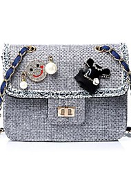 cheap -Women Bags PU leatherette Crossbody Bag Buttons for Casual All Season Gray