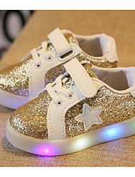 cheap -Girls' Shoes PU Winter Fall Comfort Sneakers Walking Shoes Lace-up for Casual Gold Silver Pink