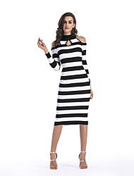 cheap -Women's Holiday Street chic Bodycon Dress,Striped Turtleneck Midi Long Sleeve Acrylic Winter Fall High Waist Stretchy Thin