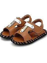 男の子 靴 レザー 夏 コンフォートシューズ サンダル 面ファスナー のために カジュアル Brown