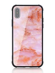 baratos -Capinha Para Apple iPhone X iPhone 8 Antichoque Estampada Capa traseira Mármore Rígida Vidro Temperado para iPhone X iPhone 8 Plus iPhone
