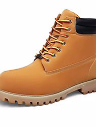 cheap -Men's Shoes Leather Winter Comfort Combat Boots Boots Walking Shoes Lace-up for Casual Black Light Brown