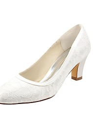 cheap -Women's Shoes Stretch Satin Spring Fall Basic Pump Wedding Shoes Chunky Heel Round Toe for Party & Evening Dress Ivory