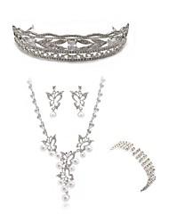 Недорогие -Жен. Браслет разомкнутое кольцо Свадебные комплекты ювелирных изделий Стразы европейский Мода Свадьба Для вечеринок Искусственный