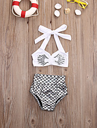 cheap -Girls' Color Block Swimwear, Polyester Nylon White