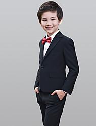 abordables -Noir 100% Coton Costume de Porteur d'Alliance  - 5 Comprend Veste Gilet Chemise Pantalon Noeud Papillon