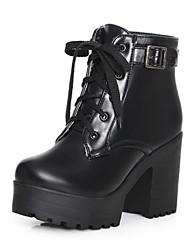 preiswerte -Damen Schuhe PU Frühling Sommer Komfort Neuheit Stiefeletten Stiefel Blockabsatz Spitze Zehe Perlenstickerei Schnalle für Party &