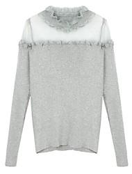 preiswerte -Damen Party Retro Langarm Pullover-Solide,Spitze Gitter Rundhalsausschnitt
