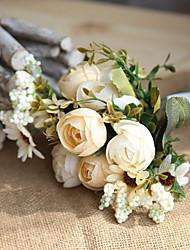 1 ブランチ ポリエステル バラ テーブルトップフラワー 人工花