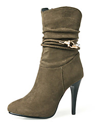 cheap -Women's Shoes Nubuck leather Winter Fall Fashion Boots Bootie Boots Stiletto Heel Round Toe Booties/Ankle Boots Mid-Calf Boots Side-Draped