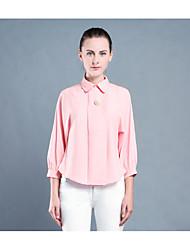 baratos -Mulheres Camisa Social Sólido Poliéster Colarinho de Camisa
