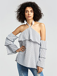 cheap -Women's Daily Street chic Fall Blouse,Striped Halter Long Sleeves Polyester Medium