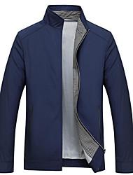 Недорогие -Для мужчин Повседневные Весна Осень Куртка Воротник-стойка,На каждый день Однотонный Обычная Длинные рукава,Хлопок