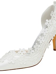 abordables -Femme Chaussures Satin Elastique Printemps / Automne Escarpin Basique Chaussures de mariage Talon Aiguille Bout pointu Appliques Ivoire