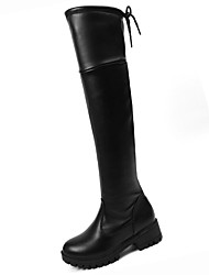 cheap -Women's Shoes PU Winter Fall Comfort Fashion Boots Boots Chunky Heel Round Toe Over The Knee Boots for Casual Black