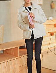 cheap -Women's Going out Simple Winter Jacket,Solid Shirt Collar Long Sleeve Regular Lamb Fur Oversized