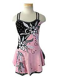 abordables -Robe de Patinage Artistique Femme Fille Patinage Robes Rose non élastique Utilisation Exercice Tenue de Patinage Couleur Pleine Sans