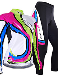 cheap -Nuckily Women's Long Sleeves Cycling Jersey with Tights - Camouflage Geometic Bike Jersey Clothing Suits, Anatomic Design, Breathable,