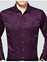 Недорогие -Для мужчин На выход Все сезоны Рубашка Рубашечный воротник,Уличный стиль С принтом Длинные рукава,Полиэстер,Средняя