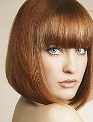 cheap -Women Synthetic Wig Light Brown Middle Long Straight BOBO Hair With Bangs Natural Wig