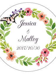 cheap -Floral/Botanicals Floral Theme Stickers, Labels & Tags - 10 Circular Envelope Sticker