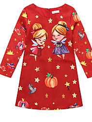 abordables -Robe Fille de Noël Imprimé Polyester Hiver Manches longues Dessin Animé Rouge