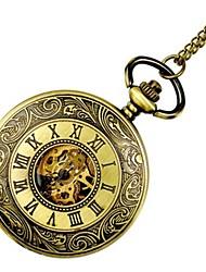 baratos -Crianças Casal Relógio Casual Relógio de Bolso Chinês Quartzo Gravação Oca Relógio Casual Lega Banda Luxo Casual Caveira Dourada