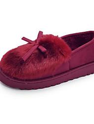 Feminino Sapatos Flocagem Inverno Outono Conforto Mocassins e Slip-Ons Sem Salto para Casual Preto Cinzento Rosa claro Vinho