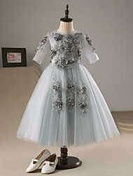 cheap -A-Line Ankle Length Flower Girl Dress - Lace Satin Tulle 3/4 Length Sleeves Jewel Neck with Beading Flower(s) by LAN TING BRIDE®