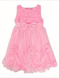 abordables -Robe Fille de Quotidien Sortie Couleur Pleine Fleur Papillon Coton Eté Sans Manches Mignon Princesse Blanc Rose Claire